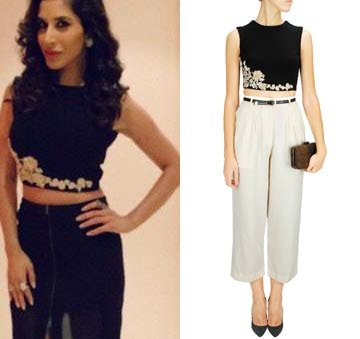 Black floral embroiderd crop top by Ridhi Mehra