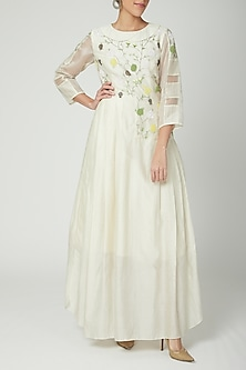 Off White Embroidered Gown by Baavli