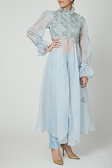 Powder Blue Sheer Kurta With Pants by Baavli-POPULAR PRODUCTS AT STORE