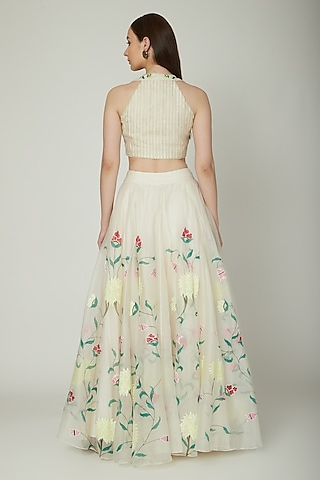 Off White Embroidered Crop Top With Hand Painted Lehenga by Baavli