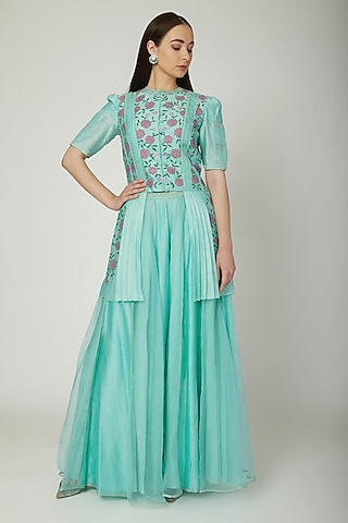 Aqua Blue Hand Painted Tunic With Pants by Baavli