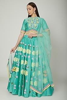Aqua Blue Embroidered & Painted Lehenga Set by Baavli