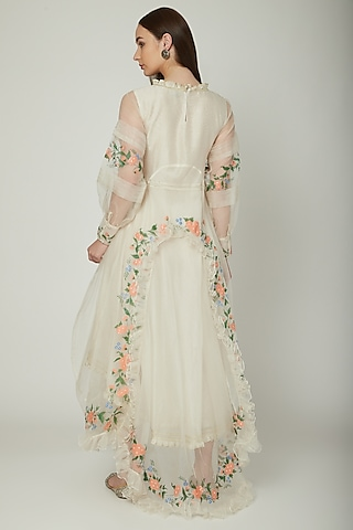Off White Hand Painted Dress by Baavli