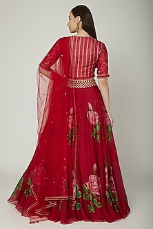 Red Embroidered & Hand Painted Lehenga Set by Baavli