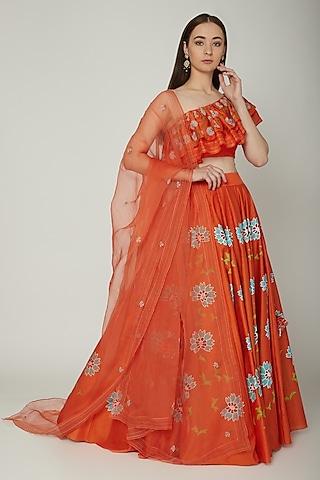 Orange Embroidered & Hand Painted Lehenga Set by Baavli