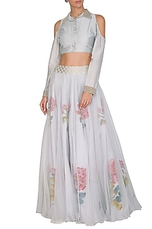 Grey embroidered Top With Hand Painted Lehenga Skirt by Baavli