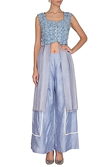 Pastel Blue Sleeveless Tunic With Sequins Palazzo Pants by Baavli