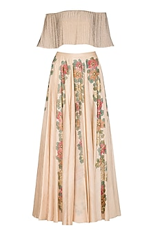 Sand Beige Embellished Top With Hand Painted Lehenga Skirt by Baavli