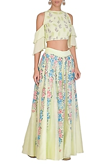 Light Green Embroidered Crop Top With Hand Painted Sharara Pants by Baavli