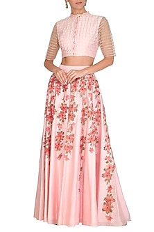 Pink Crop Top With Hand Painted Sharara Pants by Baavli