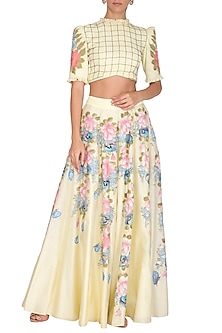 Yellow Embroidered Crop Top With Hand Painted Sharara Pants by Baavli