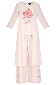 Dusty Pink Hand Painted Overlay Top With Pants by Baavli