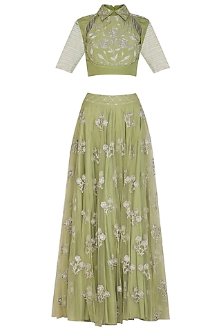 Green Embroidered Crop Top With Lehenga Skirt by Baavli