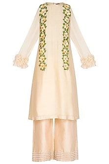 Ivory Hand Painted Kurta With Pants by Baavli