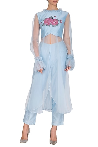 Pastel Blue Hand Painted Tunic With Embroidered Pants by Baavli