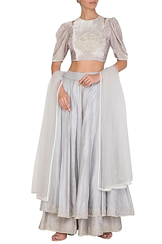 Grey Floral Embroidered Sharara Set by Baavli