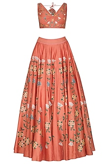 Coral Peach Hand Painted & Embroidered Lehenga Set by Baavli