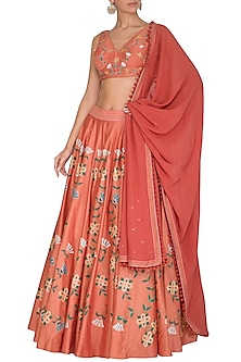 Coral Peach Hand Painted & Embroidered Lehenga Set by Baavli-SHOP BY STYLE