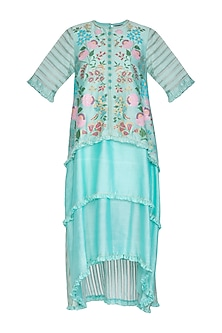 Teal Hand Painted Layered Dress by Baavli