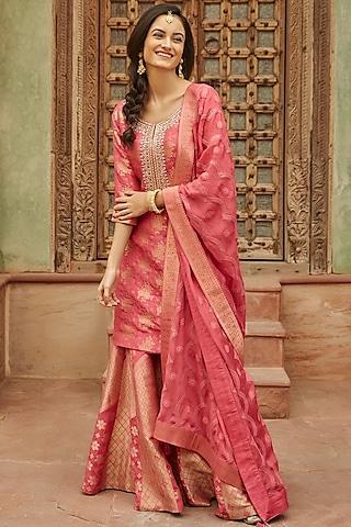 Pink Embroidered Sharara Set by Basanti - Kapde aur Koffee