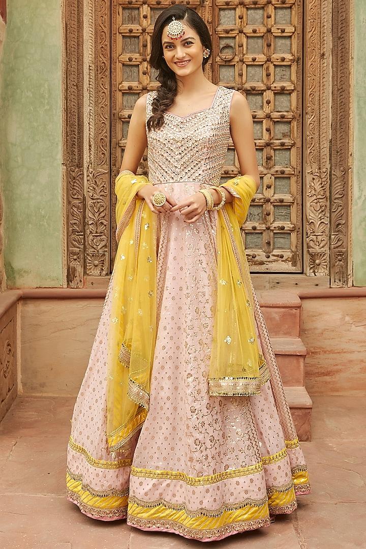 Pink Anarkali Set With Mirror Work by Basanti - Kapde aur Koffee