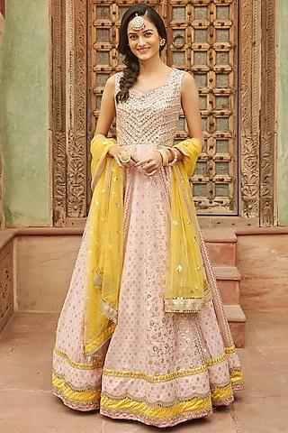 Pink Anarkali Set With Mirror Work by Basanti