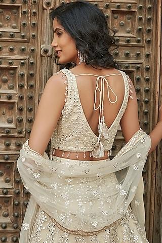 Ivory Embroidered Lehenga Set by Basanti