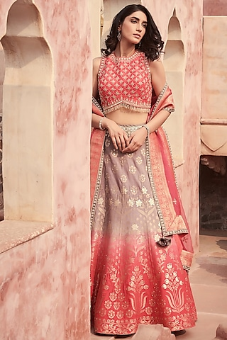 Pink Embroidered Lehenga Set by Basanti