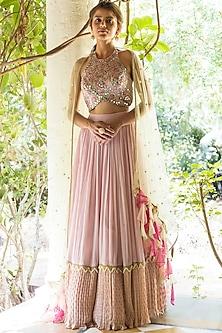 Pink Lehenga Set With Mirror Work by Basanti - Kapde aur Koffee