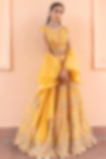 Mustard Yellow Lehenga Set With Mirror Work by Basanti - Kapde aur Koffee