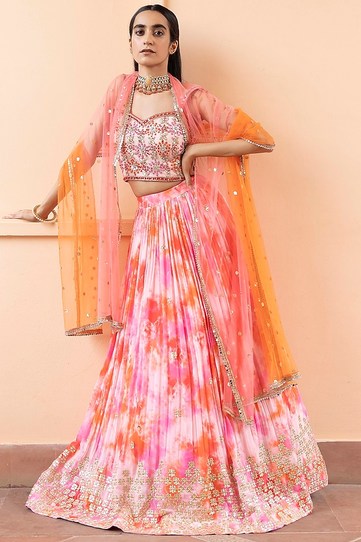 Pink Tie-Dye Lehenga Set by Basanti - Kapde aur Koffee