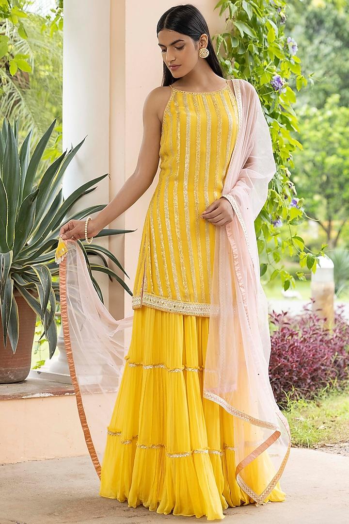 Haldi Yellow Georgette Sharara Set by Basanti - Kapde aur Koffee