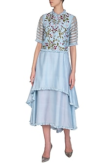 Pastel Blue Hand Painted Jacket With Layered Dress by Baavli