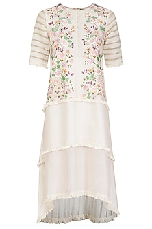 Off White Hand Painted Ruffled Dress by Baavli