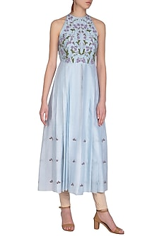 Pastel Blue Embroidered Pleated Tunic by Baavli