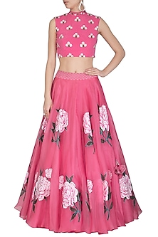 Pink Embroidered Hand Painted Lehenga Skirt With Crop Top by Baavli