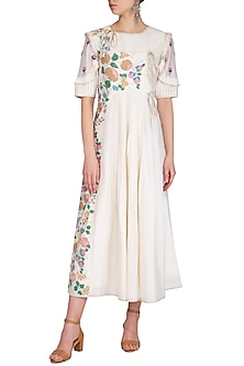 Off White Embroidered Hand Painted Dress by Baavli