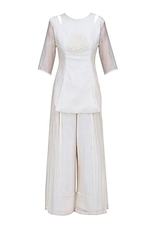 Off White Floral Hand Embroidered Tunic and Palazzo Pants Set by Baavli