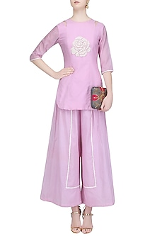 Lavender Floral Hand Embroidered Tunic and Palazzo Pants Set by Baavli