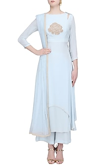 Blue Floral Hand Embroidered Kurta and Palazzo Pants Set by Baavli