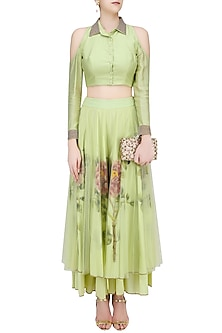 Green Pearl Embroidered Crop Top with Floral Handpainted Sharara Pants by Baavli