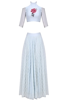 Dust Blue Floral Handpainted Cold Shoulder Top with Beads Work Skirt by Baavli