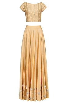 Mustard Yellow Crop Top Wiith Floral Motifs Skirt by Baavli