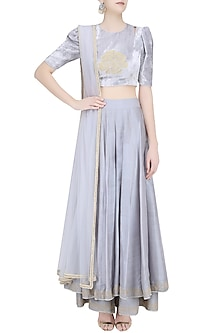 Grey Rose Motif Crop Top with Embroidered Double Layer Sharara Pants by Baavli