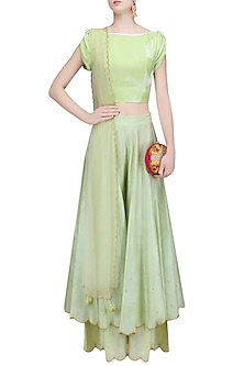Green Petal Sleeves Crop Top with Gold Pearl Bootis Sharara Pants Set by Baavli