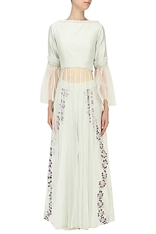 Mint Green Embroidered Top and Pants Set by Baavli
