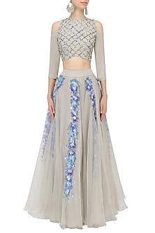 Grey Handpainted Crop Top and Skirt Set by Baavli