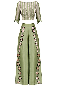 Green Hand Embroidered Crop Top and Pants Set by Baavli