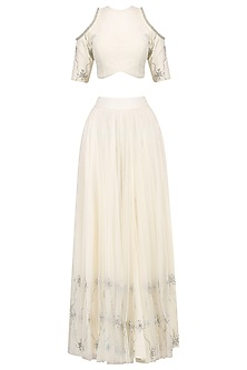Off White Cold Shoulder Crop Top and Skirt Set by Baavli