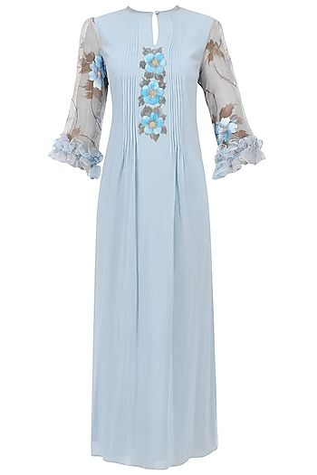 Blue Floral Hand Painted Dress by Baavli
